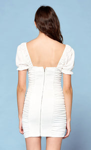 White Woven Dress w/ Smocking Detail
