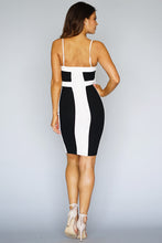 Load image into Gallery viewer, Color Block Spaghetti Strap  Bodycon Midi Dress