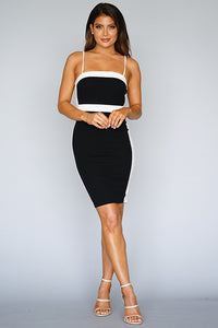 Color Block Spaghetti Strap  Bodycon Midi Dress