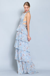 Sleeveless Halter Strap Cross Tie Tiered Skirt Blue Dress