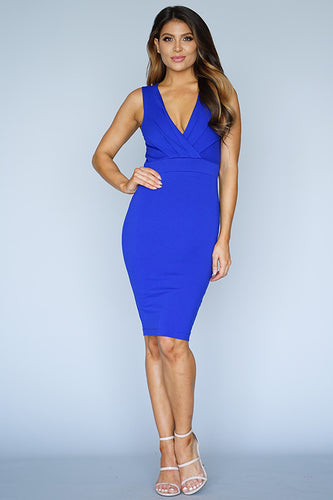 Sleeveless V Neck Gathered Front Midi Dress