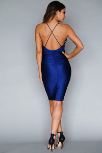 Ruched Low Back With Crossover Straps Satin