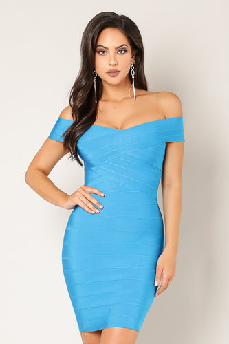 Off Shoulder Criss Cross Bust Bandage Dress