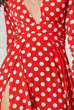 Load image into Gallery viewer, Polka Dot V Neck Long Sleeve Maxi Dress