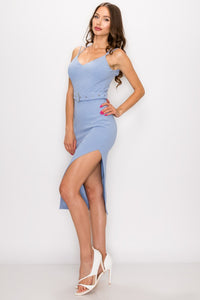 Caged-Back Belted Side Slip Blue Bodycon Dress