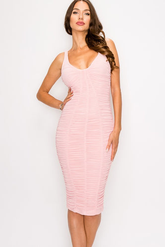 Ruched Mesh Layer Pink Bodycon Dress