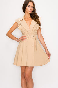 Double Breasted Self Tie Ruffle Sleeve Taupe Blazer Dress