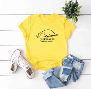 Overthinking And Also Hungry Cat T-Shirt (60% OFF TODAY!)