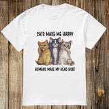 Cat Makes Me Happy T-Shirt (60% OFF TODAY!)
