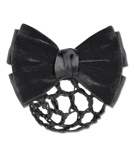 BUN NET WITH DECORATIVE VELVET BOW AND CLASP