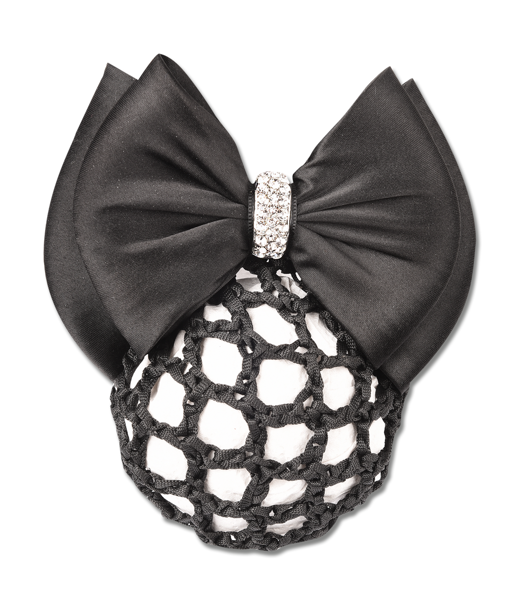 BUN NET WITH RHINESTONE BOW AND CLASP