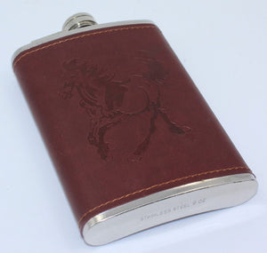 Leather Covered S/S Hip Flask