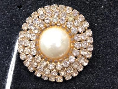 Showgirl Pearl and Diamante Circular Brooch