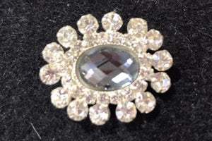 Showgirl Grey Centre with Diamantes Brooch