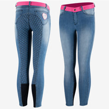 Load image into Gallery viewer, Horze Poppy Kids Denim Silicone Full Seat Breeches