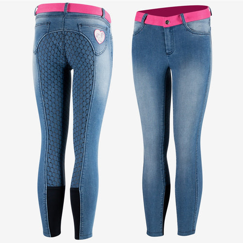 Horze Poppy Kids Denim Silicone Full Seat Breeches