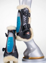 Load image into Gallery viewer, EQUICK ESHOCK FLUIDGEL OPEN FRONT TENDON BOOTS with LAMBSWOOL