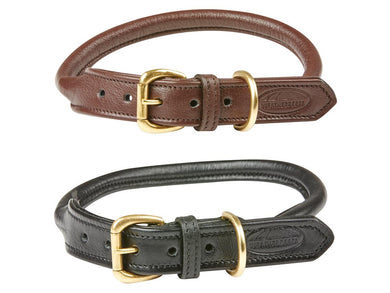 WB Rolled Leather Dog Collar