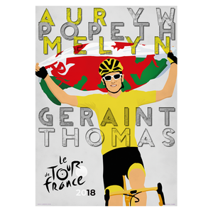 Poster Geraint Thomas - Tour de France 2018 Carw Piws