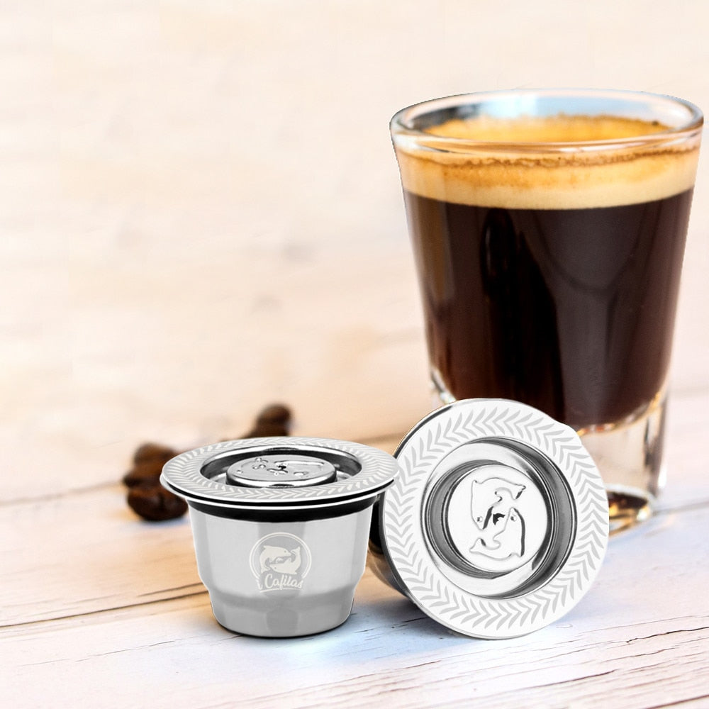 New Stainless Steel Metal 2 in 1 Usage Coffee Filter Nespresso Reusable Capsule Refillable Refilable 1 Spoon + 1Brush
