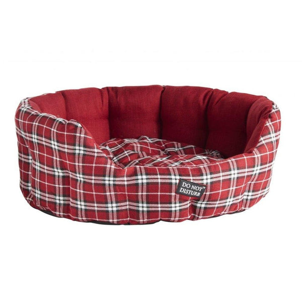 Do Not Disturb Oval Bed Red Tartan Dog Bed Soft Easy Clean