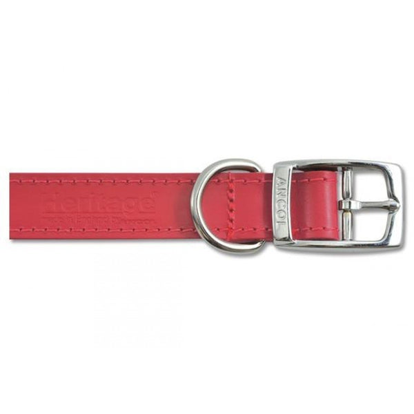 Ancol Leather Collar Red, 45-54cm size 6