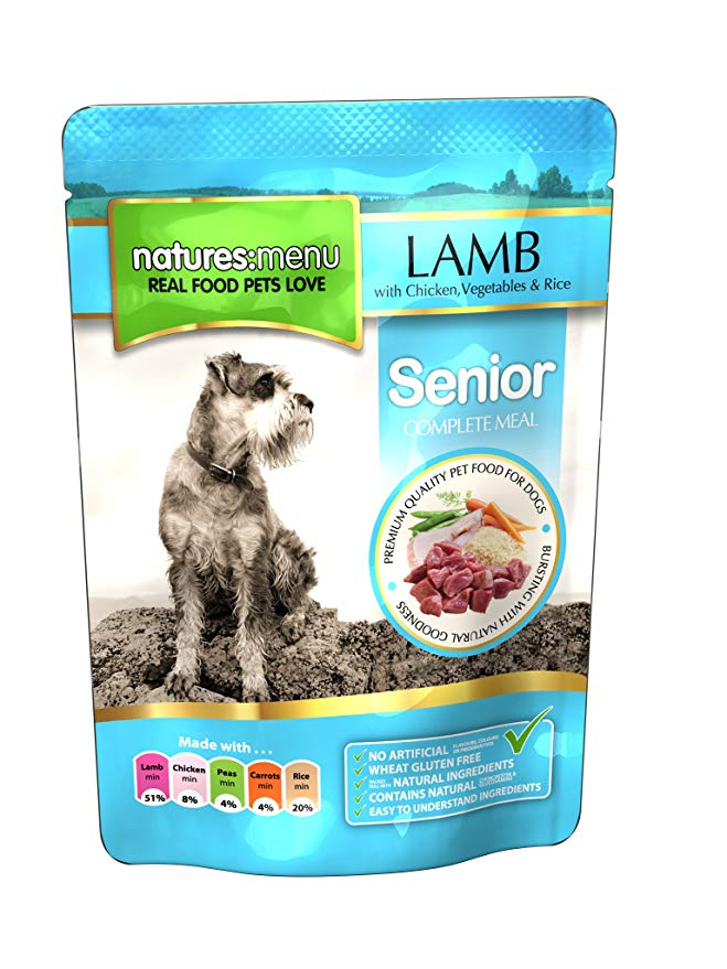 Natures Menu Senior Lamb with Chicken Dog Pouch 8 16 24 Packs of 300g
