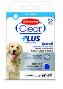 Bob Martin Clear Plus Spot On Large Dog 3 Treatments Flea and Tick