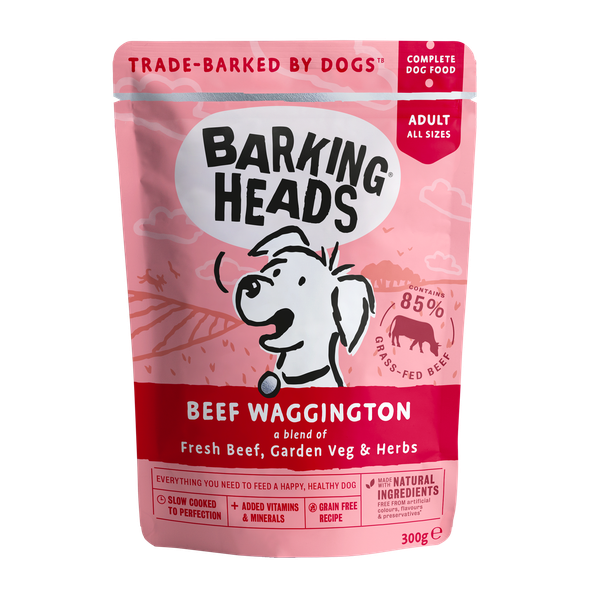 Barking Heads Beef Waggington, 300g X 10