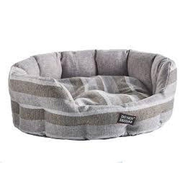 Do Not Disturb Oval Bed Grey Stripe All sizes Soft Easy Clean