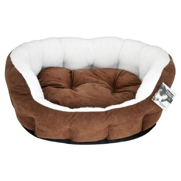 Do Not Disturb Choc & Plush Puppy Dog Bed Brown Fabric Luxury 61cm 71cm