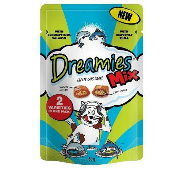 Dreamies Mix Cat Treats with Scrumptious Salmon & Heavenly Tuna, 60g X 8