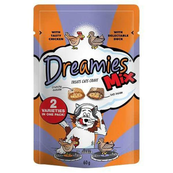 Dreamies Mix Cat Treats with Tasty Chicken & Delectable Duck, 60g X 8
