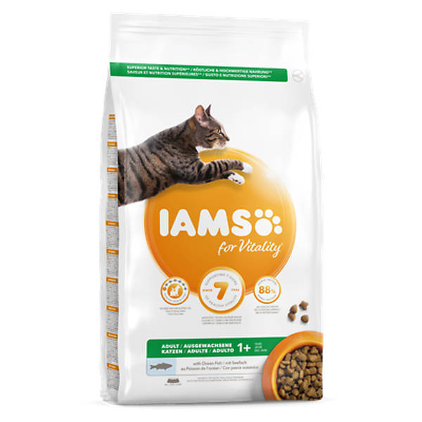 IAMS for Vitality Adult Cat Food with Ocean fish, 10kg