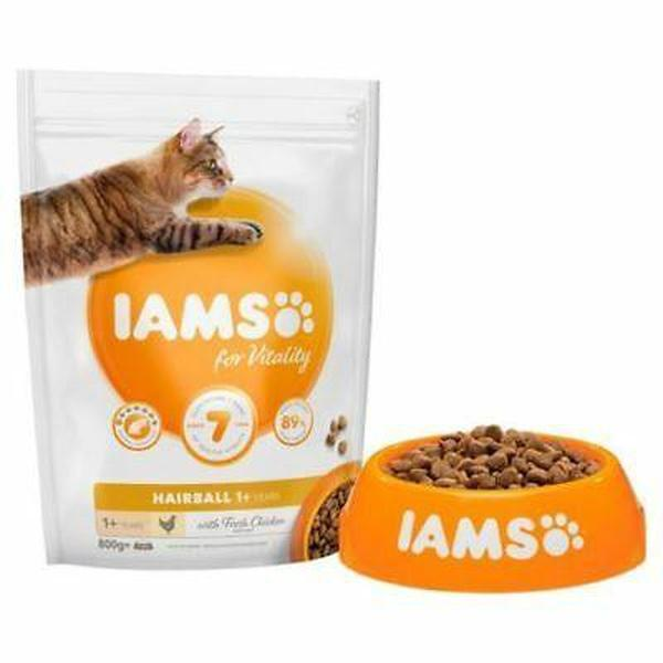 IAMS for Vitality Hairball Cat Food with Fresh chicken, 800g