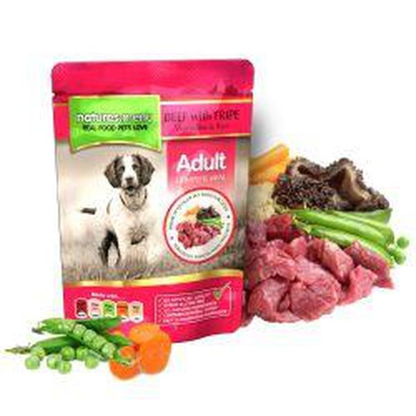 Natures Menu Beef with Tripe Dog Pouches, 8 Packs of 300g