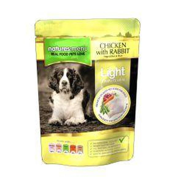 Natures Menu Light Chicken with Rabbit Dog Pouches, 8 Packs of 300g X 8