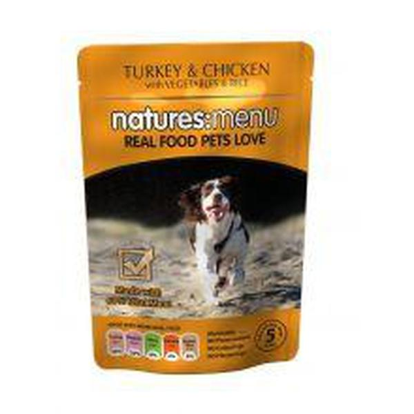 Natures Menu Turkey with Chicken Dog Pouches,8 Packs of 300g