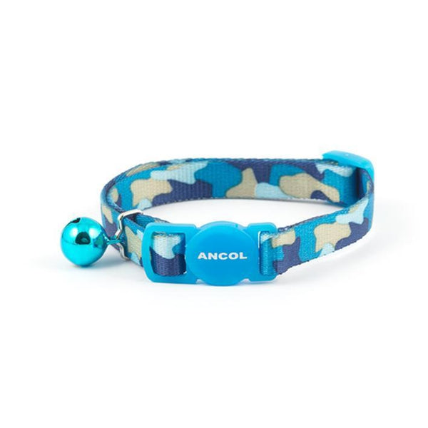Ancol Cat Collar Camouflage Blue, 20-30cm