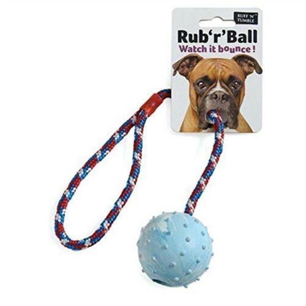 Ruff 'N' Tumble Rub 'R' Ball Rope & Ball Tug Toy 6cm, sgl