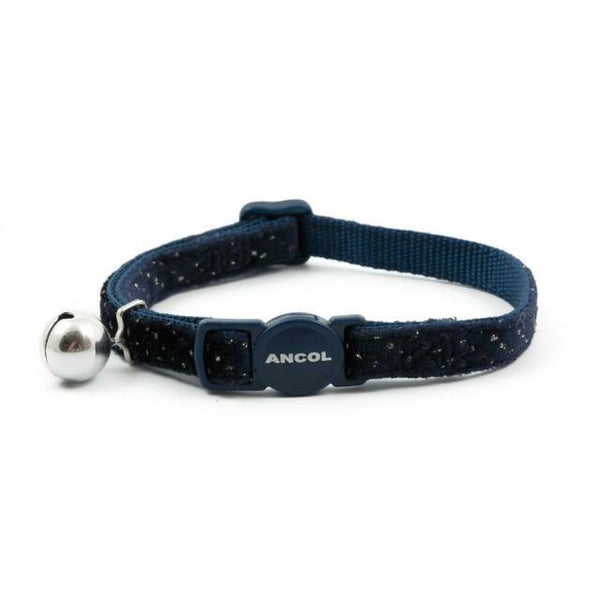 Ancol Collar Cat Velvet Navy Sparkle, 20-30cm