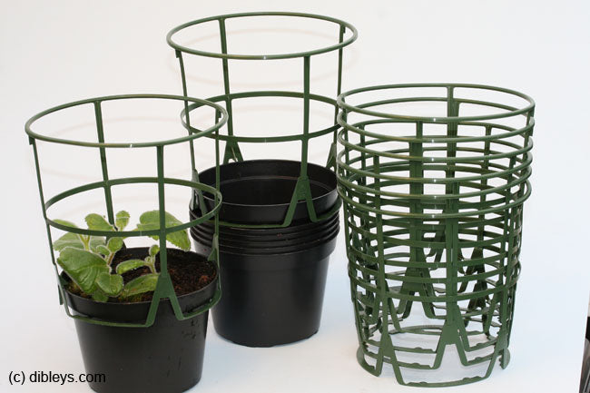 6 Plant Supports and 6 Pots, 12cm diameter