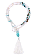 Load image into Gallery viewer, divine-feminine-mala-moonstone-mother-of-pearl-chrysocolla-amazonite-gemstone-1