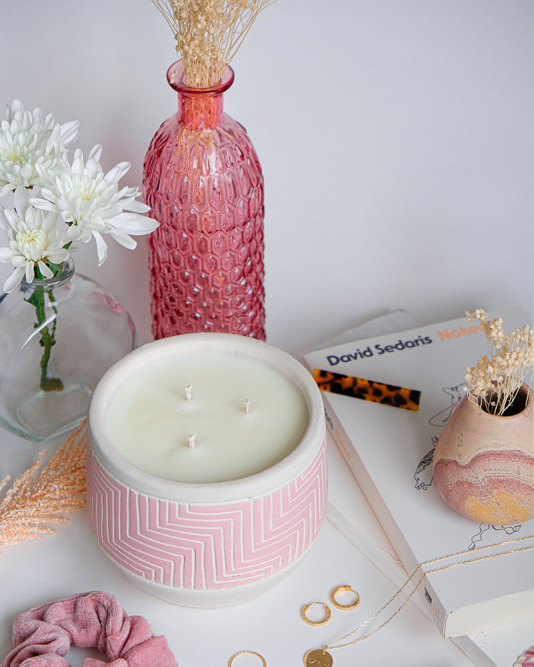 3-Wick Candle in Pink Plant Pot