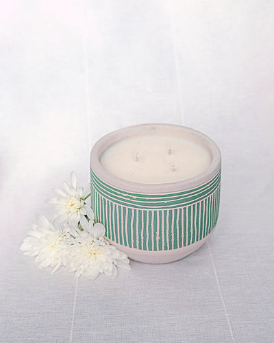 3-Wick Candle in Green Plant Pot