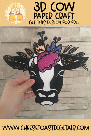 3D Cow Paper Craft - Learn How To Get This SVG for FREE
