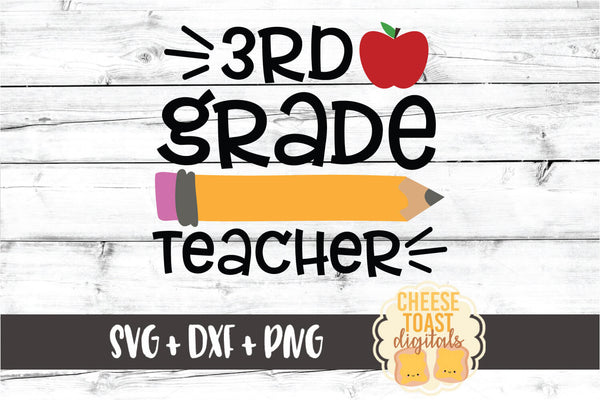 3rd Grade Teacher - Pencil and Apple
