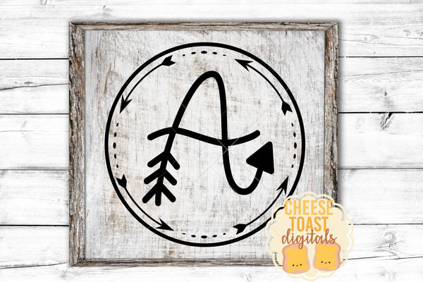 Arrow Monogram: A Hand-Lettered Monogram Font - SVG, PNG, DXF