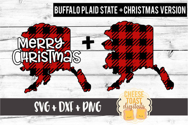 Alaska - Buffalo Plaid Merry Christmas