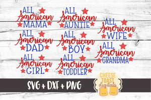 All American Bundle - 8 Designs - SVG, PNG, DXF